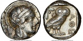 ATTICA. Athens. Ca. 440-404 BC. AR tetradrachm (23mm, 17.17 gm, 5h). NGC XF 5/5 - 4/5, Full Crest. Mid-mass coinage issue. Head of Athena right, weari...