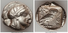 ATTICA. Athens. Ca. 440-404 BC. AR tetradrachm (26mm, 17.17 gm, 5h). XF, scuff. Mid-mass coinage issue. Head of Athena right, wearing crested Attic he...