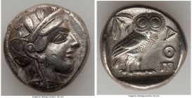 ATTICA. Athens. Ca. 440-404 BC. AR tetradrachm (24mm, 17.10 gm, 7h). XF. Mid-mass coinage issue. Head of Athena right, wearing crested Attic helmet or...