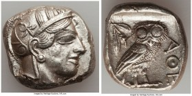ATTICA. Athens. Ca. 440-404 BC. AR tetradrachm (26mm, 17.20 gm, 9h). AU. Mid-mass coinage issue. Head of Athena right, wearing crested Attic helmet or...