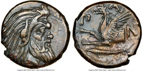 CIMMERIAN BOSPORUS. Panticapaeum. 4th century BC. AE (21mm, 11h). NGC Choice VF. Head of bearded Pan right / Π-A-N, forepart of griffin left, sturgeon...