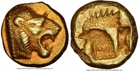 LESBOS. Mytilene. Ca. 521-478 BC. EL sixth-stater or hecte (11mm, 2.55 gm, 3h). NGC AU 5/5 - 3/5. Head of roaring lion right with pelleted truncation ...