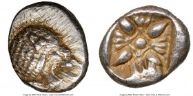 IONIA. Miletus. Ca. late 6th-5th centuries BC. AR 1/12 stater or obol (10mm), NGC AU. Milesian standard. Forepart of roaring lion left, head reverted ...