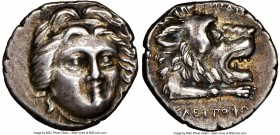 CARIA. Cnidus. Ca. 210-167 BC. AR didrachm (18mm, 5.71 gm, 12h). NGC XF 4/5 - 4/5. Magistrate, Kleitrophon. Head of Helios facing slightly right / For...