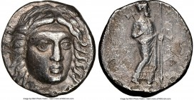 CARIAN SATRAPS. Maussollus (377-353 BC). AR drachm (14mm, 12h). NGC VF. Laureate head of Apollo facing, turned slightly right, hair parted in center a...