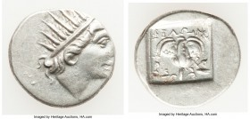 CARIAN ISLANDS. Rhodes. Ca. 88-84 BC. AR drachm (16mm, 2.68 gm, 12h). XF. Plinthophoric standard, Philon, magistrate. Radiate head of Helios right / Φ...