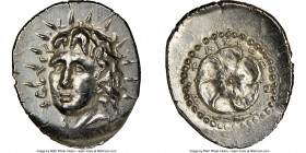 CARIAN ISLANDS. Rhodes. Ca. 84-30 BC. AR drachm (21mm, 4.32 gm, 12h). NGC MS 5/5 - 3/5, brushed. Philiscus, magistrate. Radiate head of Helios facing,...