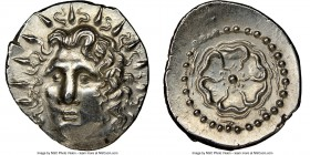 CARIAN ISLANDS. Rhodes. Ca. 84-30 BC. AR drachm (20mm, 1h). NGC AU. Radiate head of Helios facing, turned slightly left, hair parted in center and swe...