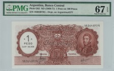 Argentina - 1 on 100 Pesos - PMG 67EPQ - (1969-1971) Overprint (1 printed on 100)