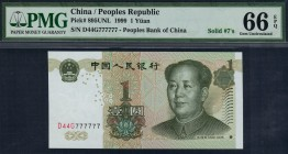 China - 1 Yuan - PMG 66EPQ - (1999) Solid #7's SN D44G 777777