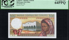 Comoros - 500 Francs - PCGS 64PPQ - (1986) Error - Inverted Watermark - Crescent is upside down