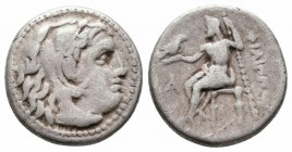 KINGS of MACEDON.Philip III.323-319 BC.Magnesia Mint.AR Drachm  Obverse : Head of Herakles right, wearing lion's skin  Reverse : ΦIΛIΠΠOY; Zeus Aetoph...