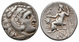 KINGS of THRACE.Lysimachos 305-281 BC.In the name and types of Alexander III. Kolophon Mint. AR Drachm  Obverse : Head of Herakles right, wearing lion...
