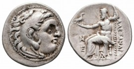 KINGS of THRACE.Lysimachos.305-281 BC.Magnesia Mint.AR Drachm   Obverse : Head of Herakles right, wearing lion skin headdress Reverse : ΑΛΕΞΑΝΔΡΟΥ; Ze...