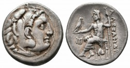 KINGS of MACEDON.Alexander III.336-323 BC.Abydos Mint.AR Drachm  Obverse : Head of Heracles right, wearing lion skin headdress Reverse : AΛEΞANΔPOY; Z...