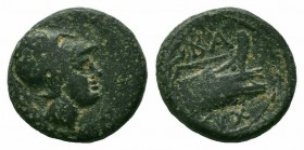 KINGS of MACEDON.Demetrios I.306-283 BC.AE Bronze  Obverse : Helmeted head of Athena right  Reverse : BA; prow right, aphlaston to left, monogram and ...
