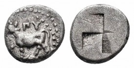 THRACE.Byzantion.Circa 416-357 BC.AR 1/2 Siglos  Obverse : Bull standing left on dolphin Reverse : Mill sail incuse  Reference : BM Black Sea 36-41  W...