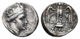 PONTOS.Amisos.Circa 2nd Century BC.AR Siglos  Obverse : Head of Tyche right  Reverse : Owl standing facing with wings spread, ΔH MH TPIOY across and b...