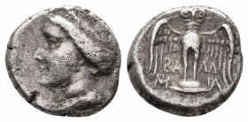 PONTOS.Amisos.Circa 300-125 BC.AR Drachm  Obverse : Head of Hera left, wearing stephanos Reverse : Owl standing facing, wings spread  Reference : HGC ...