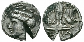 PONTOS.Amisos.Circa 4th Century BC.AR Drachm   Obverse : Head of Hera left, wearing stephane, within dotted circle Reverse : ΠΕΙΡΑ; owl with open wing...