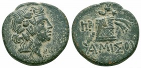 PONTOS.Amisos.Mithradates VI.Circa 85-65 BC.Civic Issue.AE Bronze  Obverse : Head of young Dionysos to right, wearing ivy wreath  Reverse : ΑΜΙΣΟΥ; pa...