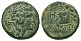 PONTOS.Amisos.Mithradates VI.Circa 85-65 BC.Civic Issue.AE Bronze  Obverse : Head of young Dionysos to right  Reverse : ΑΜΙΣΟΥ; panther skin and thyrs...