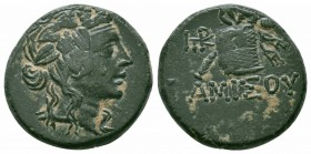 PONTOS.Amisos.Mithradates VI.Circa 85-65 BC.Civic Issue.AE Bronze  Obverse: Head of young Dionysos to right, wearing ivy wreath Reverse : ΑΜΙΣΟΥ; Pant...