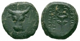 KINGS of PAPHLAGONIA.Pylaimenes III.Circa 108-89 BC.AE Bronze  Obverse : Bull's head facing Reverse : ΒΑΣΙΛΕΩΣ ΠYΛΑΙΜΕΝΟΥ ΕΥΕΡΓΕΤΟΥ; Winged kerykeion ...