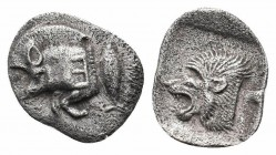 MYSIA.Cyzicus.Circa 450-400 BC.AR Obol  Obverse : Forepart of boar left, tunny behind Reverse : Head of lion left  Reference : SNG France 369-70; SNG ...