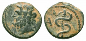 MYSIA.Pergamum.Midddel Late 2nd Century BC.AE Bronze  Obverse : Laureate head of Asklepios right Reverse : Serpent around staff; A to left  Reference ...