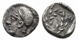 AEOLIS.Elaia.Circa 350-320 BC.AR Obol  Obverse : Helmeted head of Athena left, pellet behind Reverse : Olive wreath, EΛA below  Reference : . SNG Kayh...