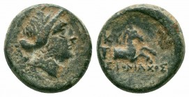 AEOLIS.Kyme.Circa 250-200 BC.AE Bronze  Obverse : Diademed head of the Amazon Kyme right Reverse : Forepart of bridled horse right; one handled cup to...