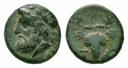 AEOLIS.Temnos.4th Century BC.AE Bronze  Obverse : Bearded head of Dionysos left, wearing ivy-wreath Reverse : T A; grape with two leaves  Reference : ...