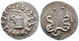 IONIA.Ephesos.Circa 166-67 BC.AR Cistophoric Tetradrachm  Obverse : Cista mystica with serpent; all within ivy wreath Reverse : ΕΦΕ; Bowcase with serp...