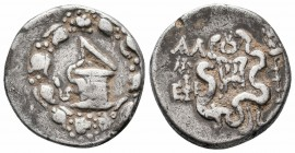 IONIA.Ephesos.Circa 180-67 BC.AR Tetradrachm  Obverse : Cista mystica with serpent; all within ivy wreath Reverse : Bow case with serpents; wreath abo...