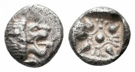 IONIA.Miletos.Circa 525-475 BC.AR Obol  Obverse : Forepart of lion left, head right Reverse : Stellate pattern in incuse square  Reference : SNG Kayha...