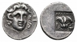 CARIA.Rhodos.Circa 170-150 BC.AR Hemidrachm  Obverse : Radiate head of Helios facing slightly right Reverse : ΑΡΧΙΝΟΣ Ρ Ο; on either side of rose with...