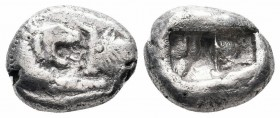 LYDIA.Kroisos.Circa 561-546 BC.AR Half Stater  Obverse : Confronted foreparts of a roaring lion and a bull Reverse : Double incuse punch  Reference : ...