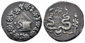 PHRYGIA.Apameia.75-67 BC.AR Tetradrachm  Obverse : Cista mystica with serpent; all within ivy wreath Reverse : Bow case with serpents; APA monogram ab...