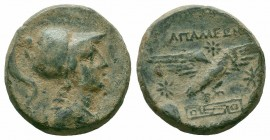 PHRYGIA.Apamea.Ca 133-48 BC.AE Bronze  Obverse : Bust of Athena right, wearing high crested Corinthian helmet and an aegis Reverse : ΑΠΑΜΕΩΝ; eagle al...