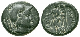 PHRYGIA.Eumeneia.After 133 BC.AE Bronze  Obverse : Helmeted head of Athena to right Reverse : EΥMENEΩN; Nike walking left, holding wreath in right han...