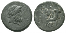 PHRYGIA.Laodicea.Circa 133/88-167 BC.AE Bronze  Obverse : Head of Zeus right, bound with taenia Reverse : ΛΑOΔΙKΕΩΝ; Eagle standing facing on cornucop...
