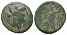 PHRYGIA.Synnada.2nd 1st Century BC.AE Bronze  Obverse : Turreted head of Tyche right, wearing grain wreath Reverse : CYNNAΔE MAIANΔPI; Zeus standing l...