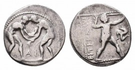 PAMPHYLIA.Aspendos.Circa 380/75-330/25 BC.AR Stater   Obverse : Two wrestlers grappling; between their legs, AS Reverse : Slinger standing right, draw...