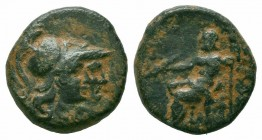 PAMPHYLIA.Attaleia.2nd-1st Century BC.AE Bronze  Obverse : Jugate helmeted heads of two Athenas right Reverse : ATTAΛEΩN; Zeus seated left on throne, ...