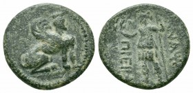 PAMPHYLIA.Perge.Circa 2nd-1st Century BC.AE Bronze  Obverse : Sphinx seated right  Reverse : ИANAΨAΣ ΠPEIIAΣ; Artemis standing left, holding wreath an...