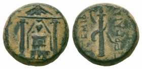 PAMPHYLIA.Perge.Circa 50-30 BC.AE Bronze  Obverse : Cult statue of Artemis Pergaia facing within distyle temple Reverse : APTEMIΔOΣ ΠEPΓAIAΣ; bow and ...