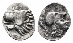 PAMPHYLIA.Side.Circa 370-360 BC.AR Obol   Obverse : Lion's head left with open jaws and tongue protruding  Reverse : Head of Athena right wearing cres...