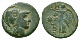 PAMPHYLIA.Side. Circa 200-36 BC.AE Bronze  Obverse : Helmeted head of Athena right; Countermark Reverce : ΣΙΔΗΤΩΝ; Nike advancing left, holding wreath...