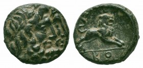 PISIDIA.Conana.1st Century BC.AE Bronze  Obverse : Laureate and bearded jugate male heads right Reverse : Lion leaping right; KO in exergue  Reference...